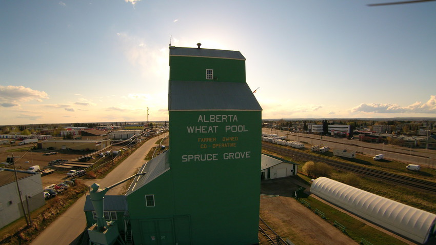 Spruce Grove Grain Elevator at sunset