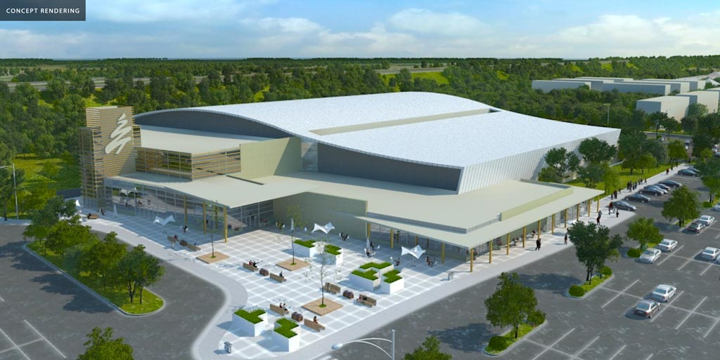 Multi-Use Sport and Event Centre concept parking lot entrance