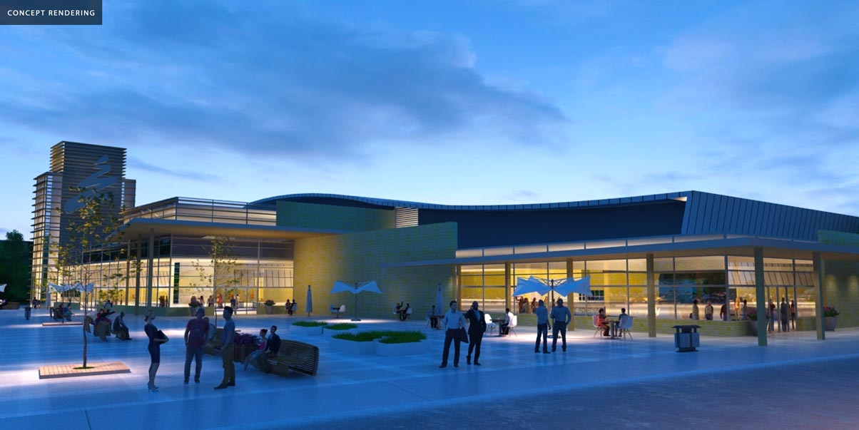 Multi-Use Sport and Event Centre concept entrance at night