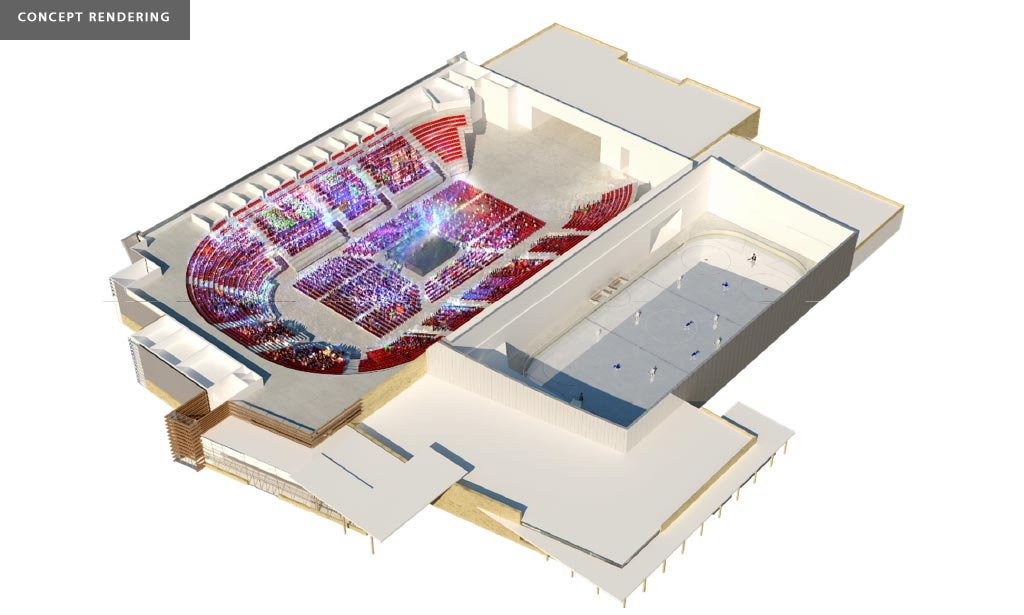 Multi-Use Sport and Event Centre concept interior stadium in the round seating