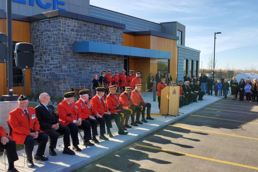 Community leaders, Parkland RCMP detachment employees and members of the public gathered to celebrate the grand opening of the newly-built detachment on Friday, Oct. 11.